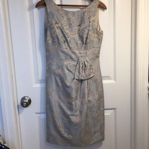 Tahari champagne and turquoise cocktail dress
